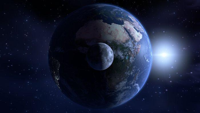 Luna, Tierra y Sol.