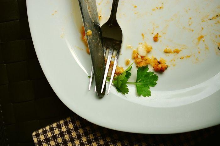 Ilustrasi sisa makanan di piring.