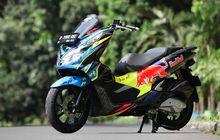 Modifikasi Minimalis Honda PCX 150, Pasang Part Carbon dan Livery Ala Helm Pembalap
