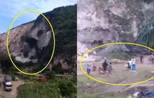 Video Detik-detik Gunung Kapur Longsor, Pemotor Langsung Kocar-kacir