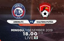 Link Live Streaming Arema FC Vs Kalteng Putra, Pekan Ke-30 Liga 1 2019