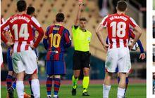 Messi Dapat Kartu Merah Pertama di Barcelona, Ronaldo Masih Lebih Kasar