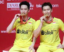 Begini Reaksi Kevin Sanjaya ketika Marcus Fernaldi Lakukan Kesalahan di Malaysia Masters 2019