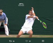 Detik-detik Mata Petenis Perancis Terkena Bola Hasil Smash Lawan di Final Wimbledon 2019