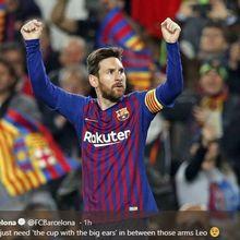 Video - Messi Disambut Dua Pelukan Kecil Usai Barcelona Juara La Liga