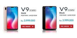 Vivo V9 Resmi Hadir Di Indonesia, Tawarkan Desain Layar Penuh dan AI