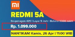 Lazada Kini Jual Xiaomi Redmi 5A Rp 1.099.000, Kok Nggak Rp 999 Ribu?