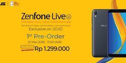 Pre Order Asus Zenfone Live L1 Rp 1.3 Juta Digelar Besok di JD.ID