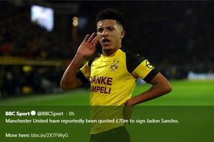 Manchester United Siap Tebus Jadon Sancho Seharga Rp1,2 Triliun