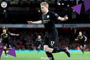 Brace De Bruyne dan Gol Sterling Hancurkan Arsenal di Babak I