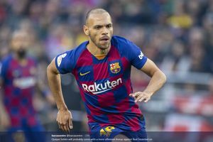 Liga Champions - Unjuk Gigi dalam Kemenangan Barcelona, Martin Braithwaite Sukses Cetak Rekor Langka