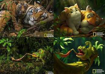 Wah, Deretan Foto Hewan Diubah Jadi Ilustrasi Lucu seperti Film Animasi!