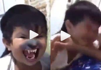 Takut dengan Wajahnya Sendiri Saat Pakai Filter Seram, Anak Ini Bikin Terbahak!