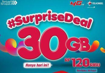 Kuota Data Telkomsel 30 GB Hari Ini Seharga Rp 120 Ribu!