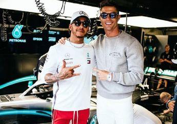 Demi Menghibur Lewis Hamilton, Cristiano Ronaldo Bawa Satu Keluarga ke Paddock Tim Mercedes