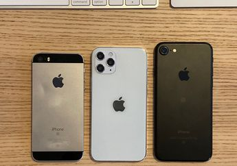 Perbandingan Ukuran Dummy iPhone 12 5,4 inci dengan iPhone 7, iPhone SE