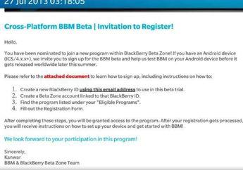 BlackBerry Mulai Mengirimkan Undangan Uji Coba BBM for iOS