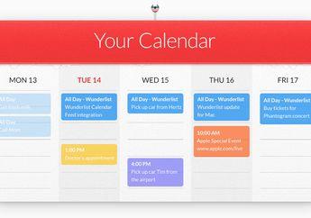 Wunderlist Kini Mendukung Integrasi Layanan Kalender Online