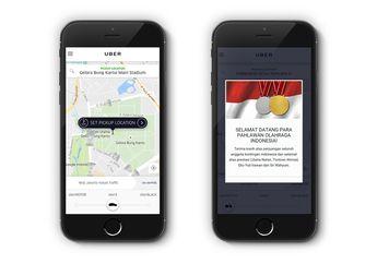 Uber Sambut Kedatangan Atlet Tontowi/Liliyana dengan Ikon Shuttlecock
