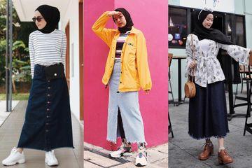 5 Ide Fashion Hijab Casual Style Dengan Rok Denim Ala Selebgram Hijab Milenial Semua Halaman Stylo