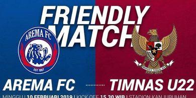 Timnas U-22 Indonesia Kontra Arema FC Imbang di Babak Pertama