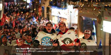 Mengintip Pesta Perayaan Gelar Juara Marquez Bersaudara di Cervera
