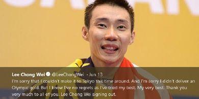 Lee Chong Wei Minta Atlet yang Jalani Persiapan Olimpiade Tokyo 2020 Tetap Tenang Hadapi Wabah Virus Corona