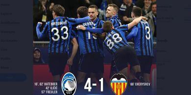 Hasil Liga Champions - Satu Jam Cetak 4 Gol, Satu Kaki Atalanta di Perempat Final