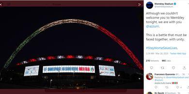 Timnas Italia dan Timnas Inggris Gagal Bertanding, Stadion Wembley Tunjukan Pesan Simpati