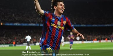 DUEL KLASIK, 6 April 2010 - Quattrick Lionel Messi Kandaskan Arsenal