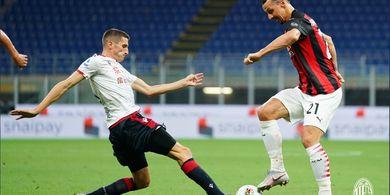 Hasil Babak I - Sundulan Zlatan Ibrahimovic Bawa AC Milan Unggul