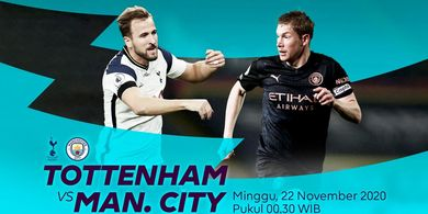 Link Streaming Tottenham Hotspur Vs Manchester City, Pekan Ke-9 Liga Inggris