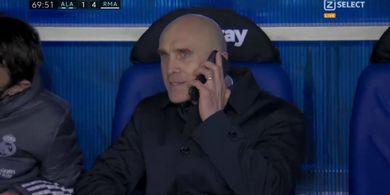 Hasil Liga Spanyol - Asisten Zidane Terima Telepon di Tengah Laga, Real Madrid Pesta di Kandang Lawan