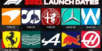 Jadwal Peluncuran Tim Formula 1 pada Musim 2021