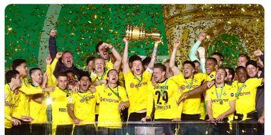 Erling Haaland dan Jadon Sancho Berbagi Dua Gol, Borussia Dortmund Bekap RB Leipzig dan Raih Trofi DFB Pokal Kelima