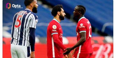Hasil Babak I - Salah-Mane Serasi, Liverpool Ditahan Imbang 1-1 oleh West Brom