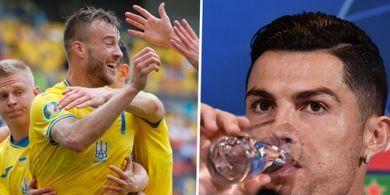 Aksi Kocak Bintang Ukraina dan Romelu Lukaku Ejek Drama Ronaldo Vs Coca-Cola