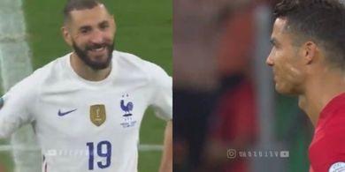 EURO 2020 - Benzema dan Ronaldo Kenapa Saling Senyam-senyum?