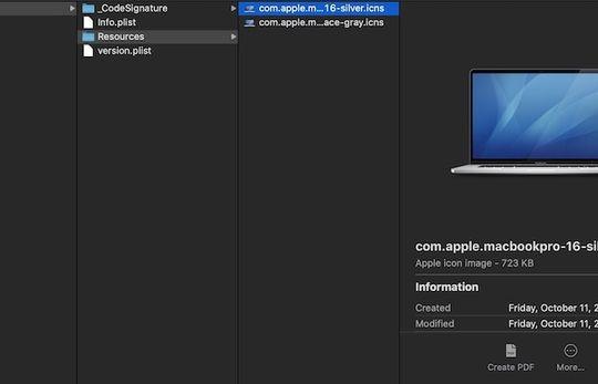 Detail dari MacBook Pro 16 inci