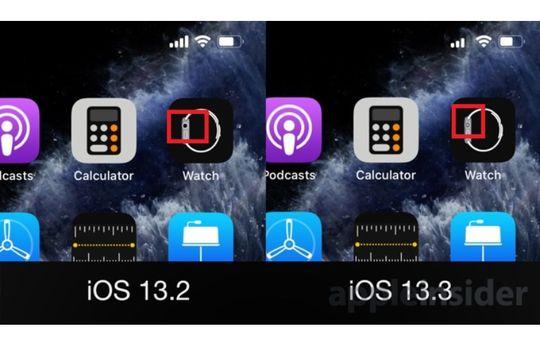 Perbedaan logo Apple Watch di iOS 13.2 dan iOS 13.3