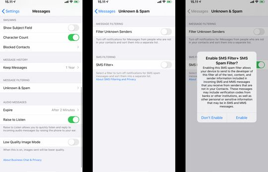 Pengaturan SMS Filter+