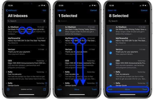 Cara mengatur email di iPhone dengan 2 jari