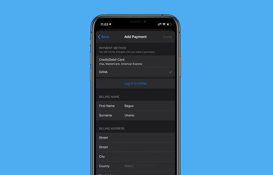 Pendaftaran opsi pembayaran DANA di App Store