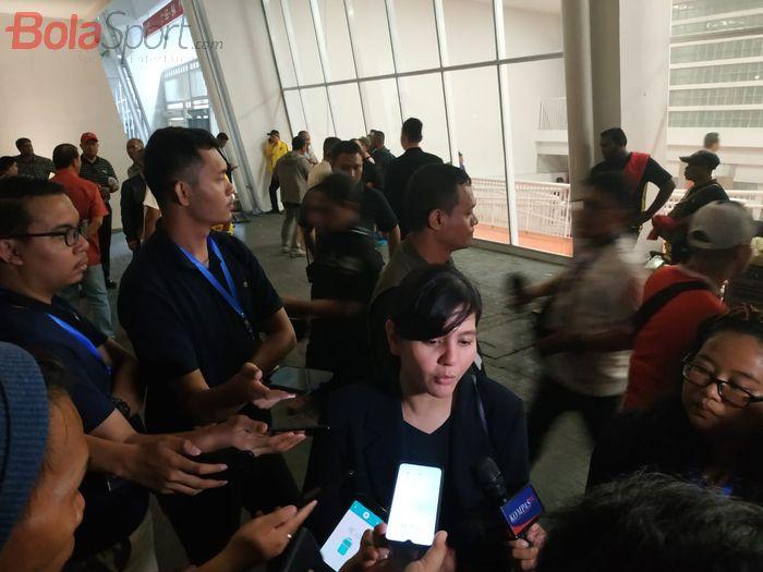 Sekjen PSSI, Ratu Tisha Destria di SUGBK, Jakarta, Kamis (5/9/2019).