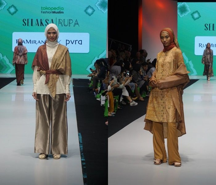 Terdapat kancing depan dalam setiap set look koleksi busana hijab untuk ibu menyusui karya Ria Miranda di MUFFEST 2019 hari Sabtu (04/05/2019)