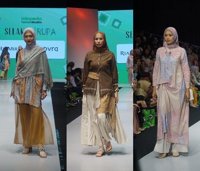 Tampilan koleksi busana hijab untuk ibu menyusui dari Ria Miranda di MUFFEST 2019 hari Sabtu (04/05/2019)