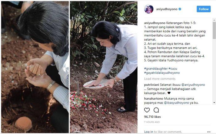 Ani Yudhoyono nampak mengubur ari-ari cucu keempatnya.