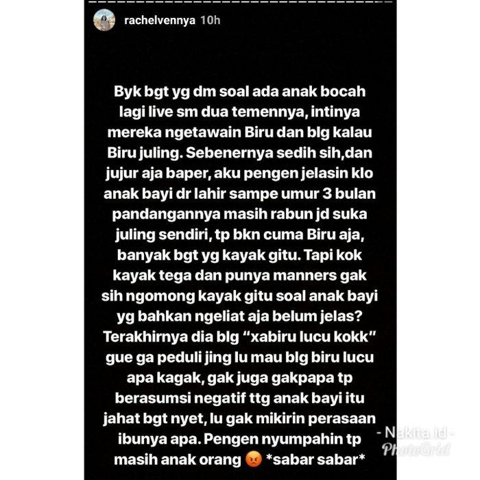 Isi instagram Rachel Vennya tentang kritikan netizen