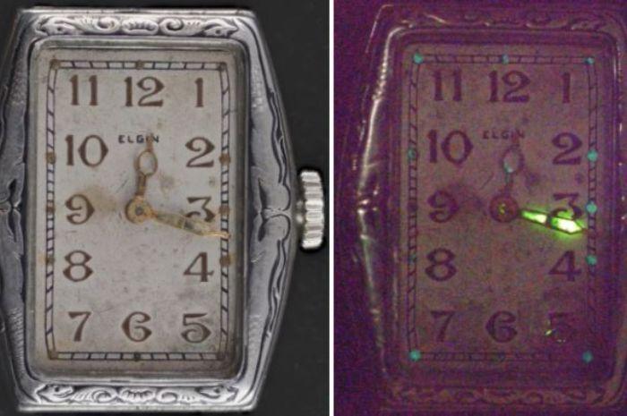 Jarum jam arlogi yang bersinar karena mengandung radium.