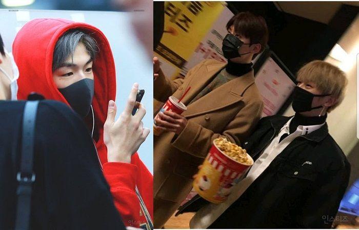Cara Kang Daniel Wanna One memegang cup pop corn dan handphone menjadi sorotan penggemarnya.